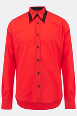 A cotton red shirt with an additional black contrast detailing on collar, front view, by-A Child Of The Jago