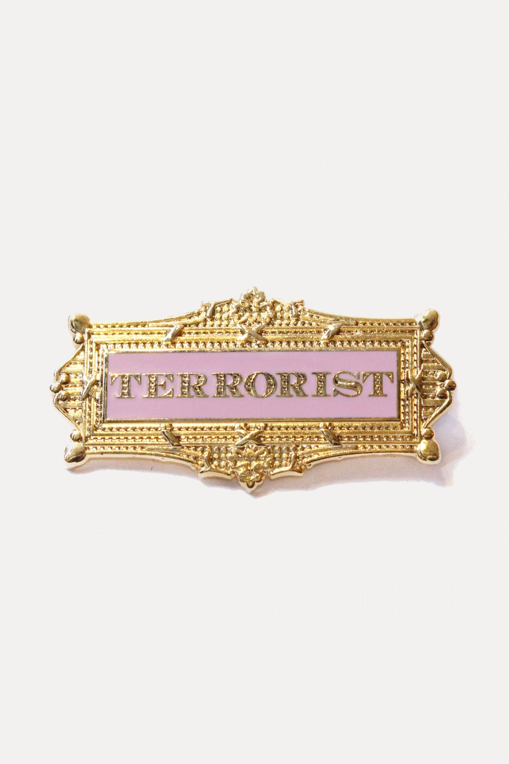 FRAMED TERRORIST PIN - PINK-accessories-A Child Of The Jago