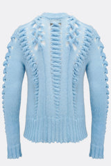 An uniquely knitted light blue jumper, back view, by A Child Of The Jago