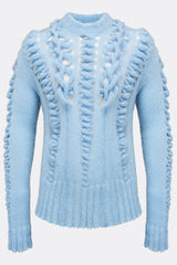 An uniquely knitted light blue mohair jumper, front view, by A Child Of The Jago