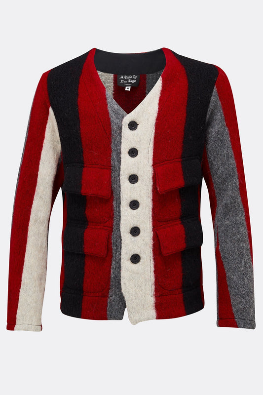 JERKIN RED AND GREY STRIPE WOOL-menswear-A Child Of The Jago