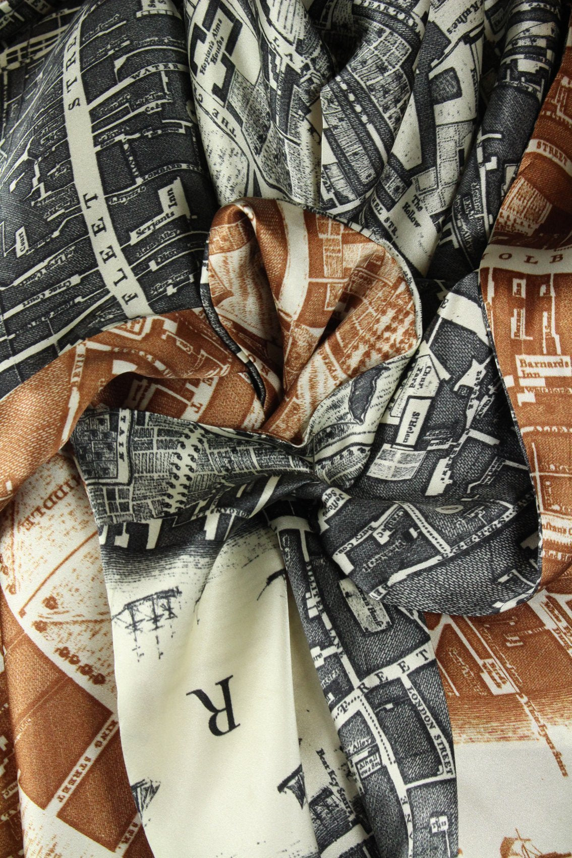 LARGE SILK SQUARE SCARF IN BROWN AND CHARCOAL BOUNDARY-accessories-A Child Of The Jago