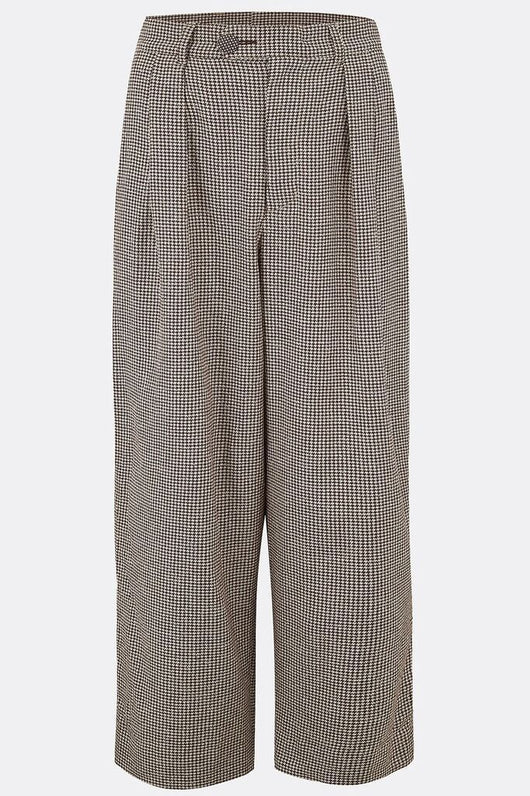 LEYBOURNE CROPPED TROUSERS IN BROWN HOUNDSTOOTH-menswear-A Child Of The Jago
