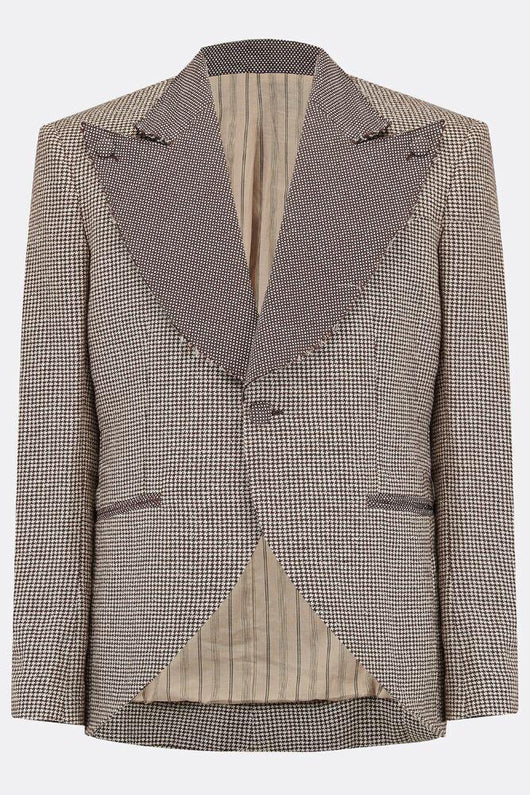 A linen and cotton single-button fitted jacket with oversized lapels in brown houndstooth fabric, front view, byA Child Of The Jago