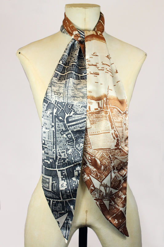 LONG SILK SCARF IN BROWN AND CHARCOAL BOUNDARY-accessories-A Child Of The Jago