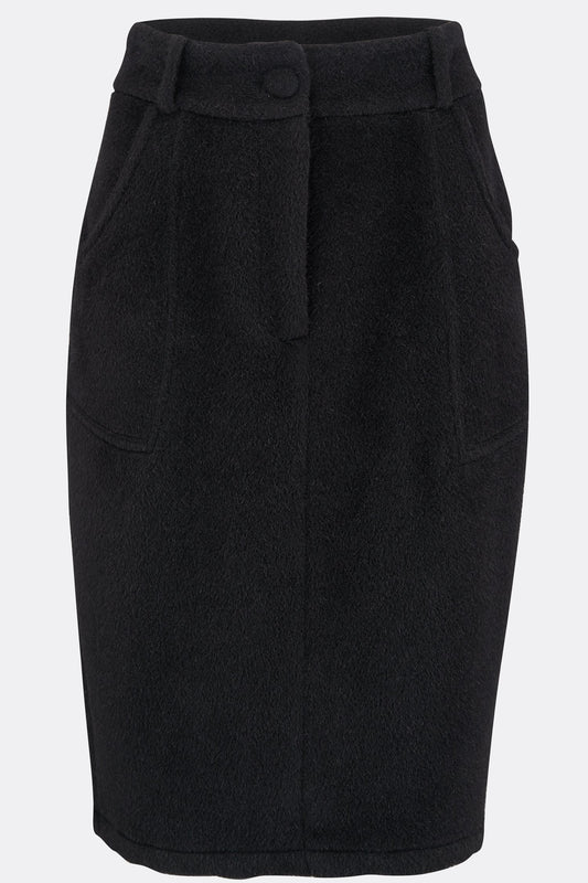 MONROE PENCIL SKIRT IN BLACK ALPACA-womenswear-A Child Of The Jago