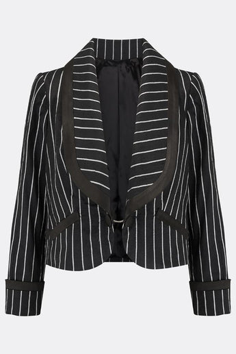 NANCY CROPPED SILK JACKET IN BLACK AND WHITE STRIPE-womenswear-A Child Of The Jago