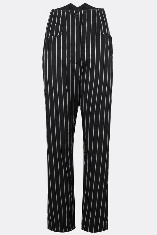 NANCY SEAMLESS SILK TROUSERS IN BLACK AND WHITE STRIPE-womenswear-A Child Of The Jago