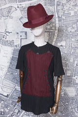 NAPOLEON KNITTED TEE SHIRT IN BLACK AND BURGUNDY-T shirts-A Child Of The Jago