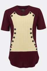 NAPOLEON KNITTED TEE SHIRT IN BURGUNDY AND CREAM-T shirts-A Child Of The Jago