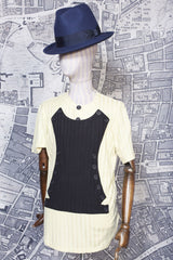NAPOLEON KNITTED TEE SHIRT IN CREAM AND BLACK-T shirts-A Child Of The Jago