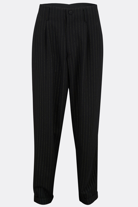 PEGS TROUSERS IN BLACK AND GOLD LUREX STRIPE-menswear-A Child Of The Jago