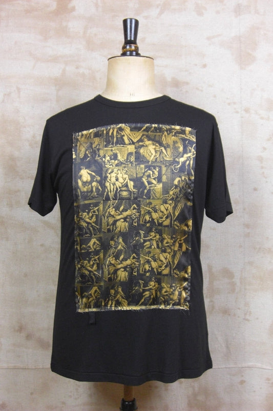 PORN BLACK TEE SHIRT W/ GOLD SILK PATCH-T shirts-A Child Of The Jago