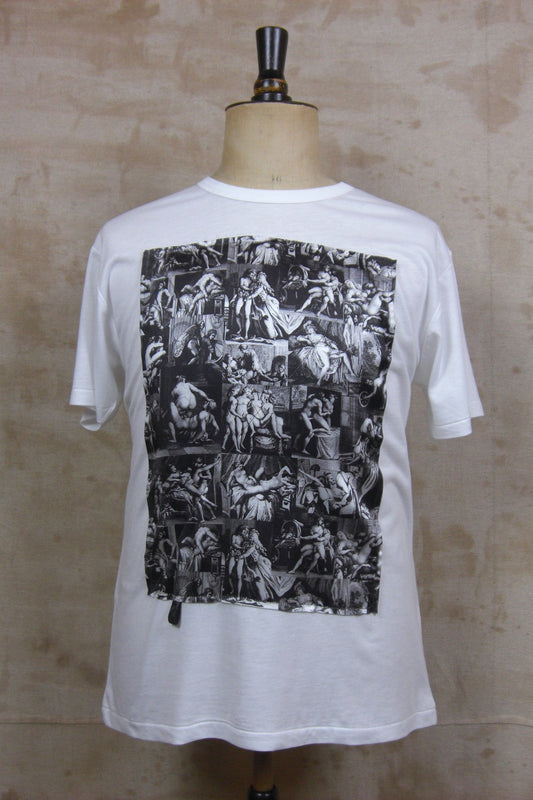 PORN WHITE TEE SHIRT W/ BLACK PORN PRINT-T shirts-A Child Of The Jago