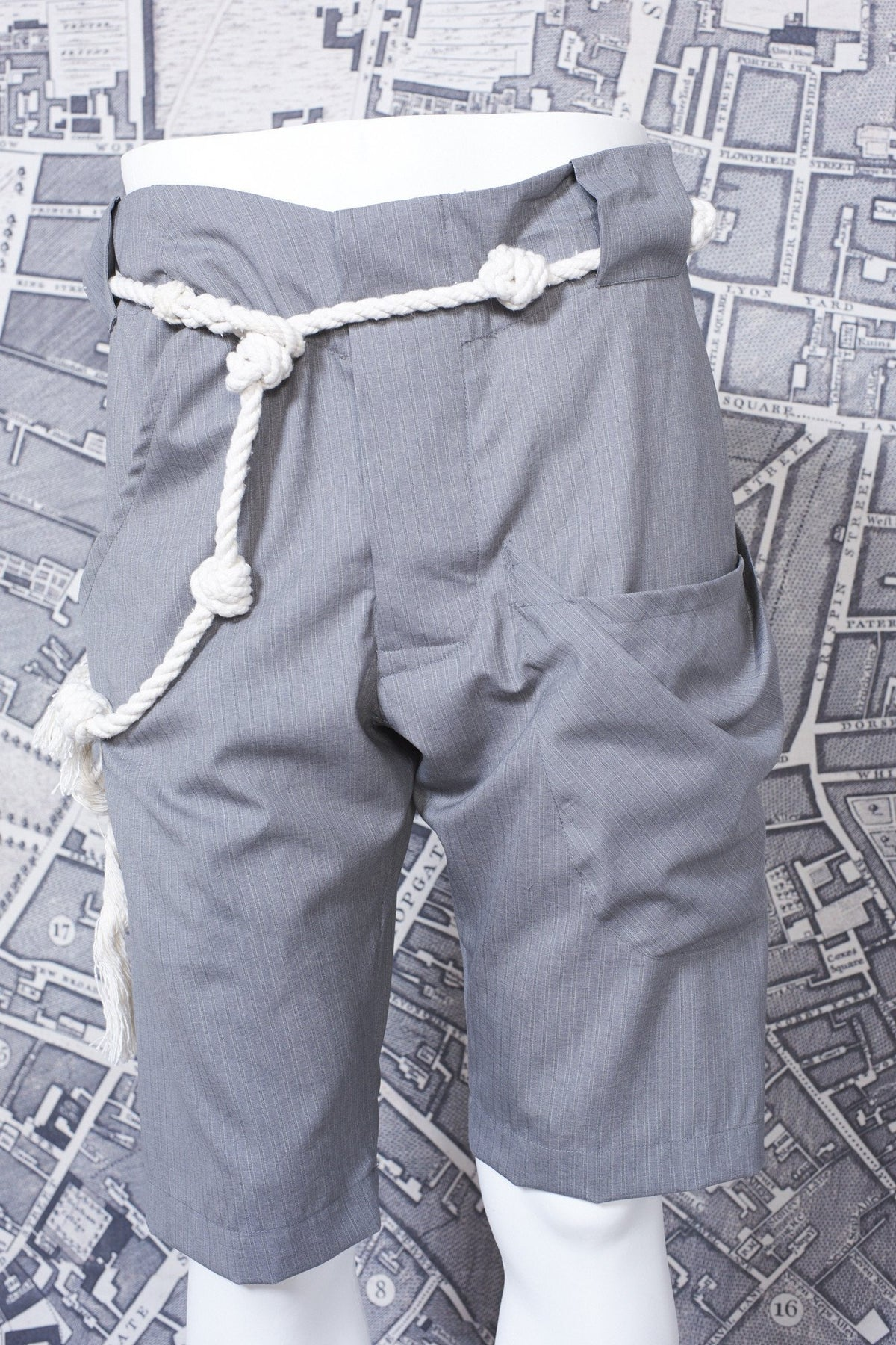 RIGGER SHORTS IN GREY STRIPE-menswear-A Child Of The Jago