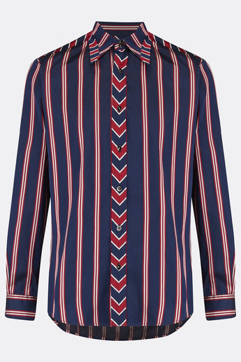 ROCHESTER SHIRT IN NAVY RED STRIPE-menswear-A Child Of The Jago
