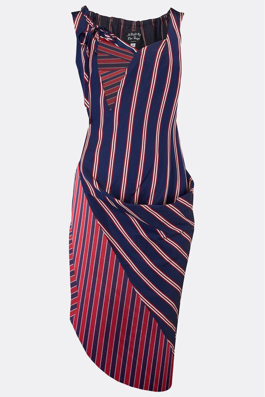 8d30c4b65 ROCHESTER SWAG DRESS IN NAVY STRIPE-womenswear-A Child Of The Jago