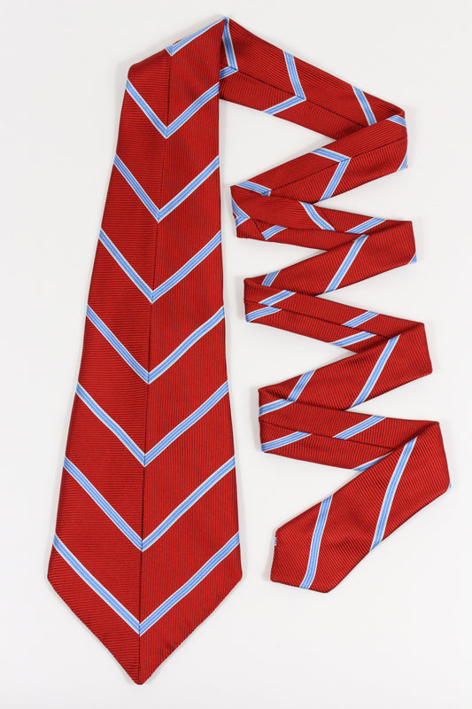ROCHESTER TIE IN RED BLUE STRIPE-menswear-A Child Of The Jago