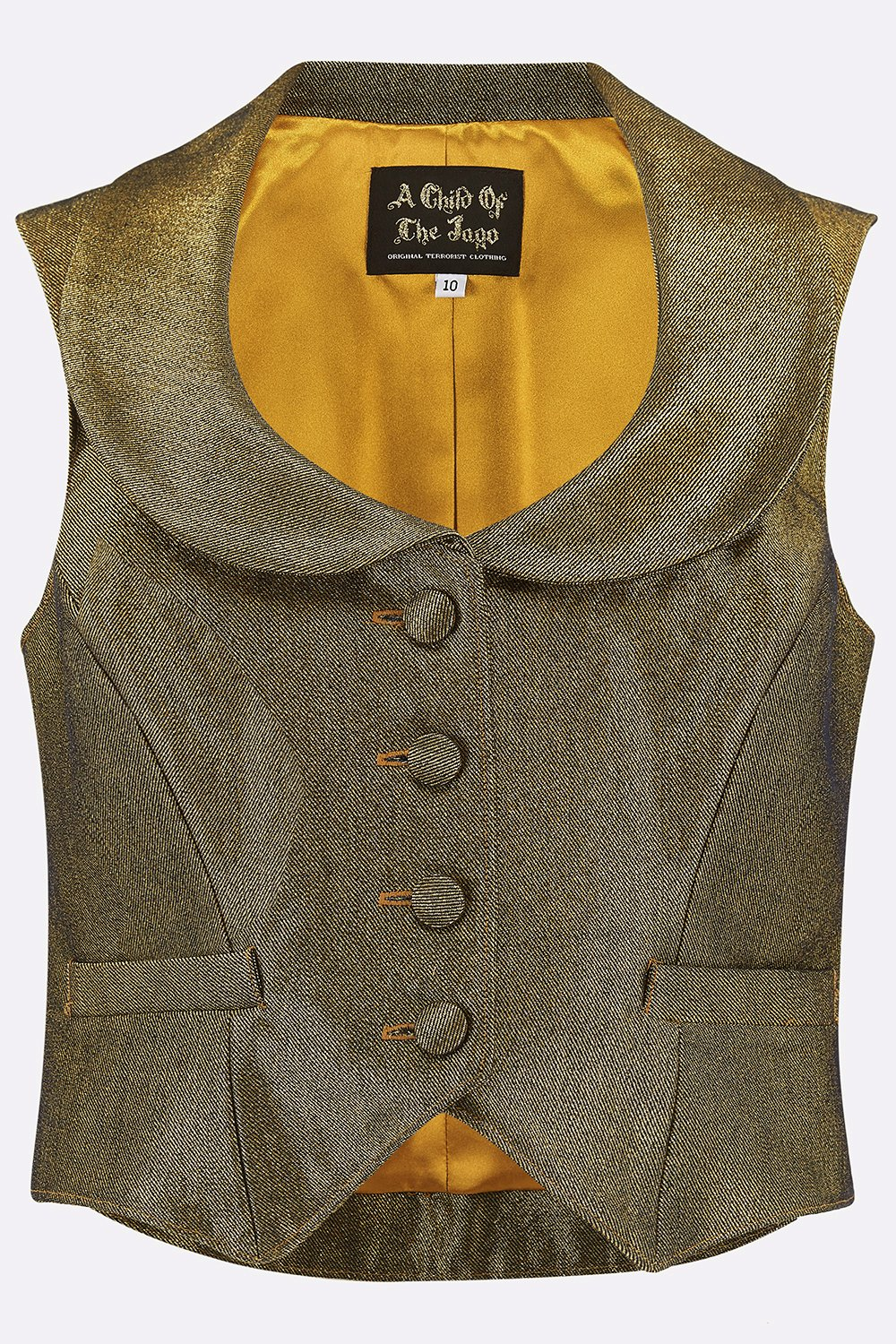 ROXANA WAISTCOAT IN GOLD DENIM-womenswear-A Child Of The Jago