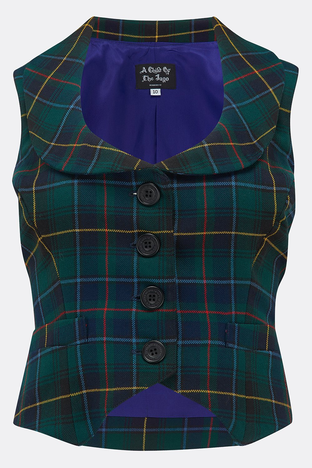 ROXANA WAISTCOAT IN NAVY GREEN CHECK-womenswear-A Child Of The Jago