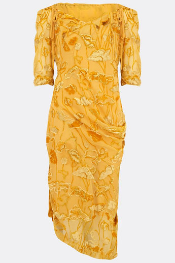 SAFFRON SILK DRESS-womenswear-A Child Of The Jago