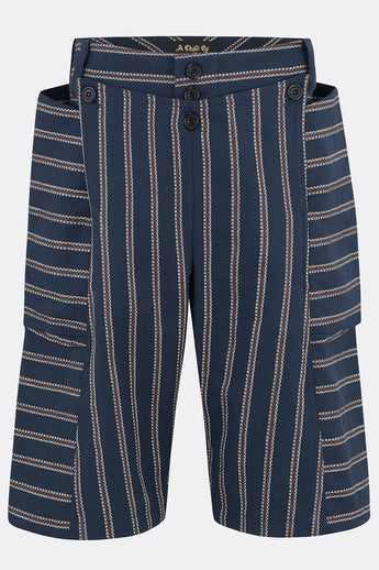 SEA DOG SHORTS IN LINEN BLUE STRIPE-menswear-A Child Of The Jago