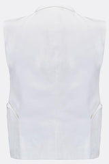 A double-breasted waistcoat in white cotton featuring side patch pockets, back view, by A Child Of The Jago