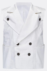 SEA DOG WAISTCOAT IN WHITE COTTON-menswear-A Child Of The Jago