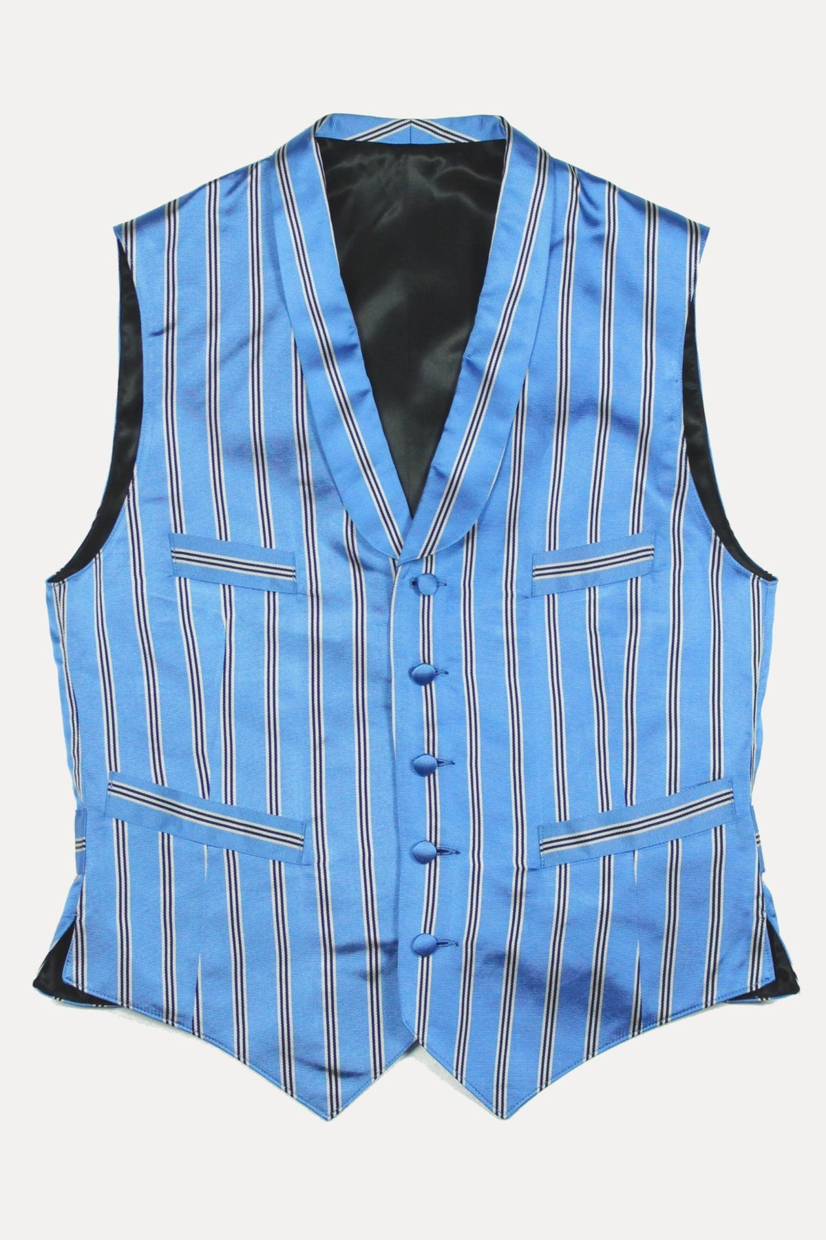 SHAWL COLLAR WAISTCOAT IN BLUE ROCHESTER SILK (made to order)-menswear-A Child Of The Jago