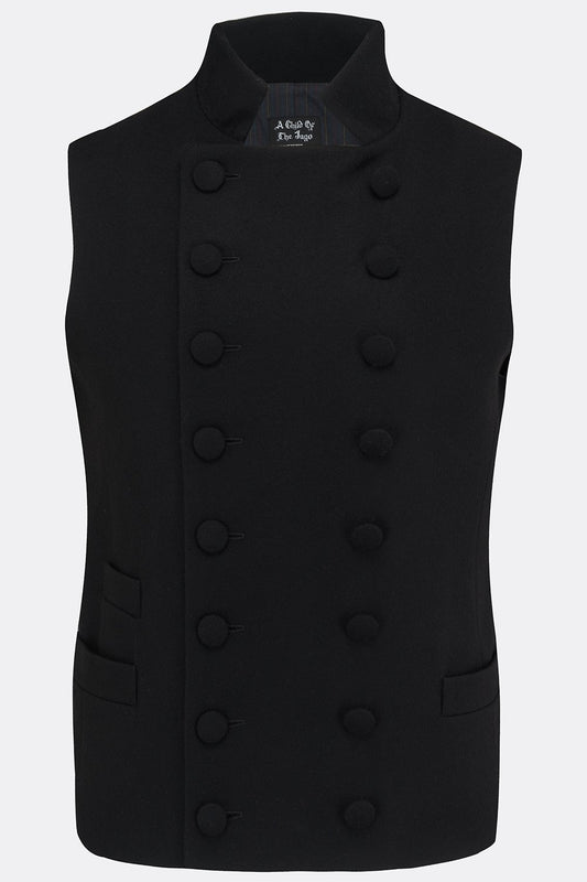 SHEPPARD WAISTCOAT IN BLACK MELTON WOOL-menswear-A Child Of The Jago