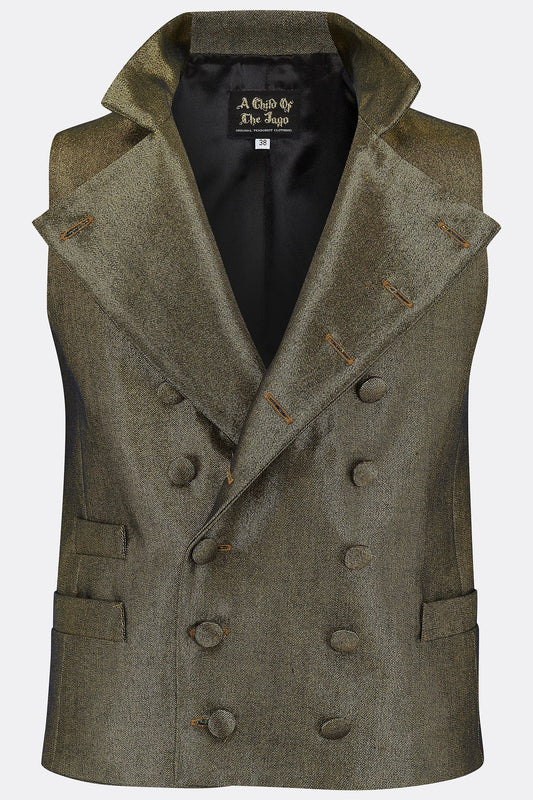 SHEPPARD WAISTCOAT IN GOLD DENIM-menswear-A Child Of The Jago