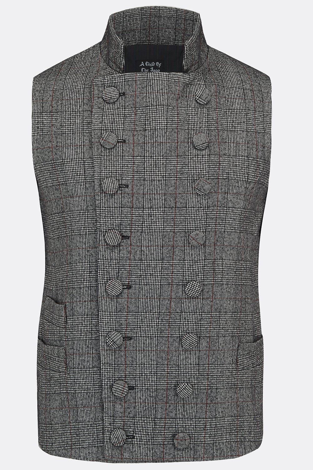 SHEPPARD WAISTCOAT IN GREY CHECK-menswear-A Child Of The Jago