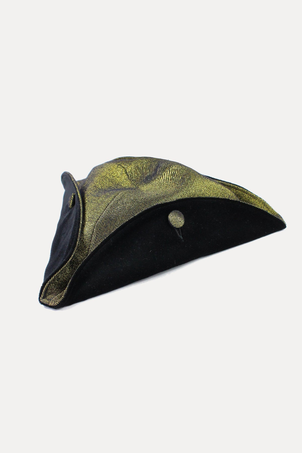 SMALL TRICORNE - GOLD DENIM AND VELVET-hats-A Child Of The Jago