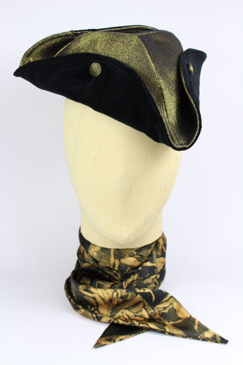 SMALL TRICORNE HAT IN GOLD DENIM W/ VELVET-hats-A Child Of The Jago