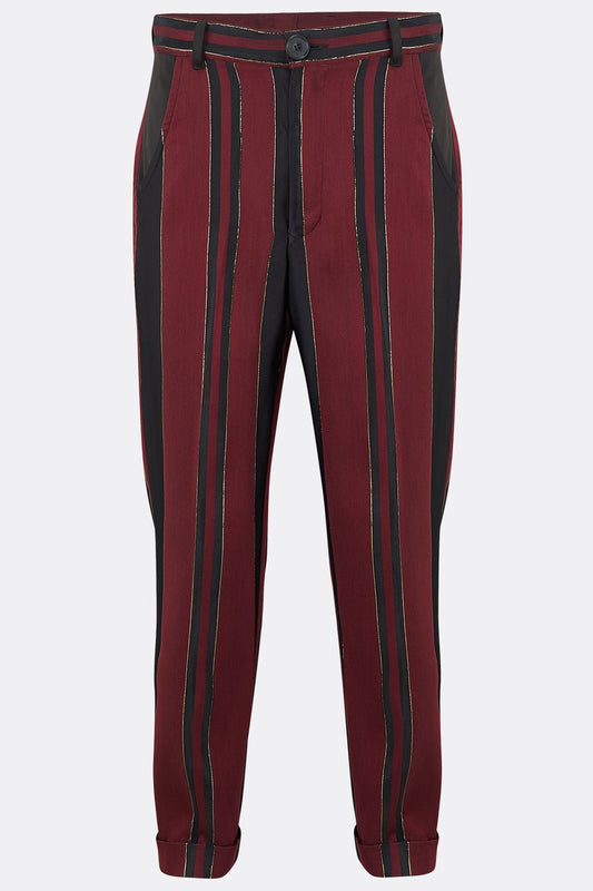 SOHO DRAINPIPE TROUSERS IN BLACK RED AND GOLD STRIPE-menswear-A Child Of The Jago