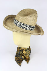 STRAW HIGHWAYMAN HAT W/ AZTEC AND NAVAJO BANDS IN VARIOUS COLOURS-hats-A Child Of The Jago