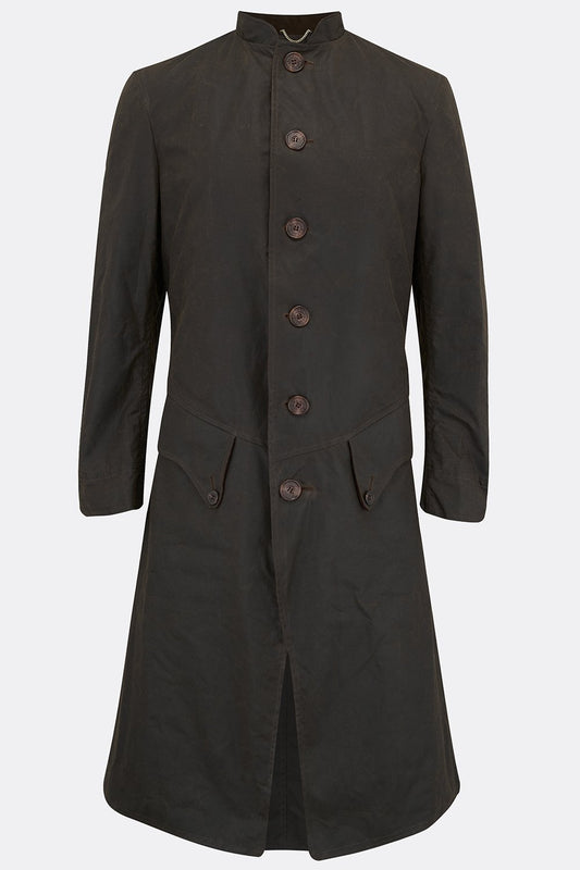 TEACH COAT IN OLIVE WAXED COTTON-menswear-A Child Of The Jago