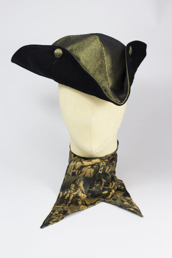 TRICORNE HAT IN GOLD DENIM WITH VELVET-hats-A Child Of The Jago
