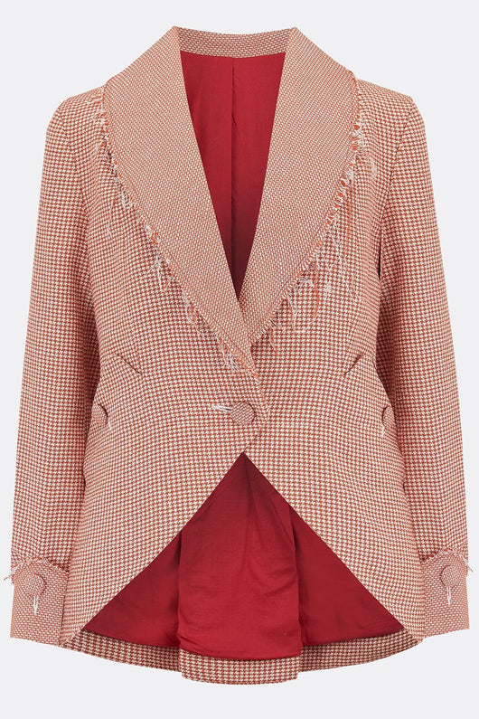 VESTA JACKET IN BURNT ORANGE HOUNDSTOOTH-womenswear-A Child Of The Jago