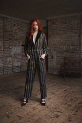 VESTA JACKET IN OLIVE AND BLACK STRIPE-womenswear-A Child Of The Jago
