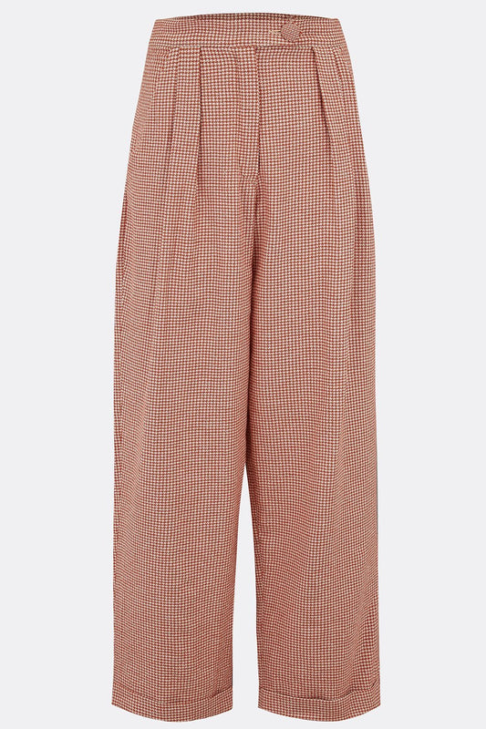 VESTA TROUSERS IN BURNT ORANGE HOUNDSTOOTH-womenswear-A Child Of The Jago