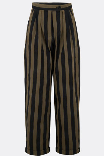 VESTA TROUSERS IN OLIVE AND BLACK STRIPE-womenswear-A Child Of The Jago