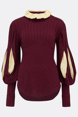 VICTORIOUS JUMPER IN BURGUNDY W/ CREAM CONTRAST-womenswear-A Child Of The Jago