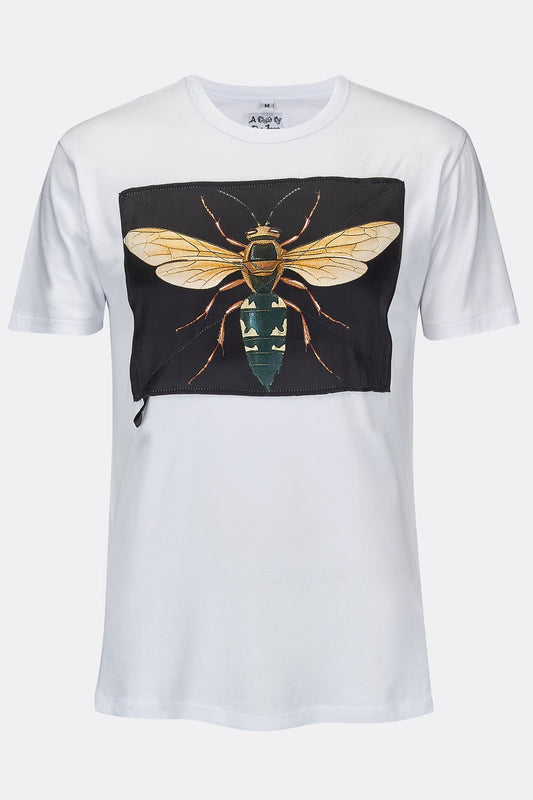 2ab9fd6a WASP BLACK SILK PATCH WHITE TEE SHIRT-T shirts-A Child Of The Jago
