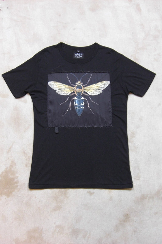 WASP SILK PATCH BLACK TEE SHIRT-T shirts-A Child Of The Jago