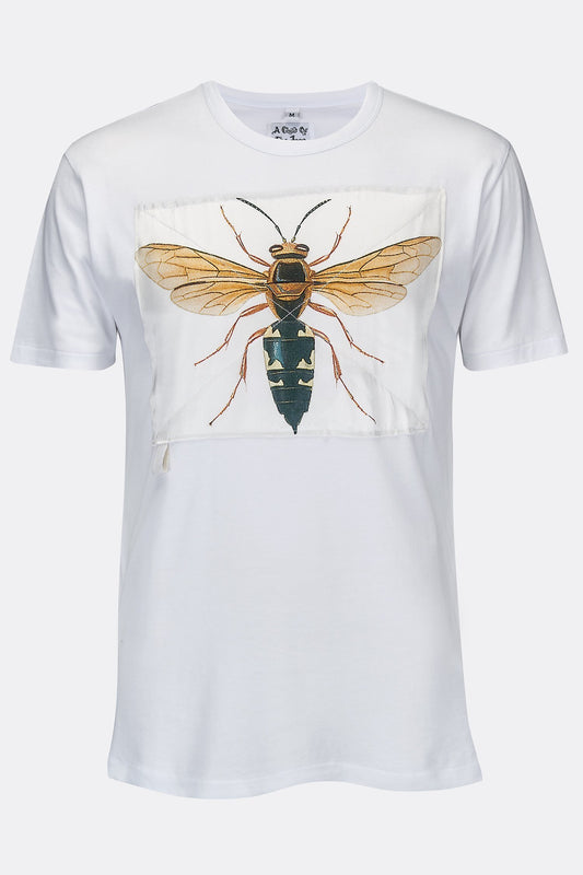 WASP SILK PATCH WHITE TEE SHIRT-T shirts-A Child Of The Jago