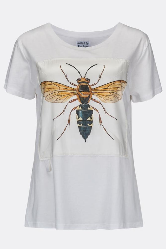 WOMEN'S SILK WASP TEE SHIRT WHITE-T shirts-A Child Of The Jago