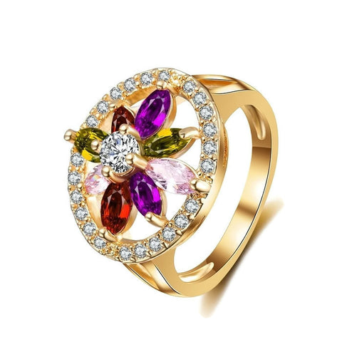 18k Gold Plated Cute Multi Color Round Ring Sz 6-9