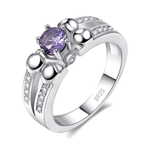 Sterling Silver Cute Round Amethyst Cocktail Ring Sz 6-9