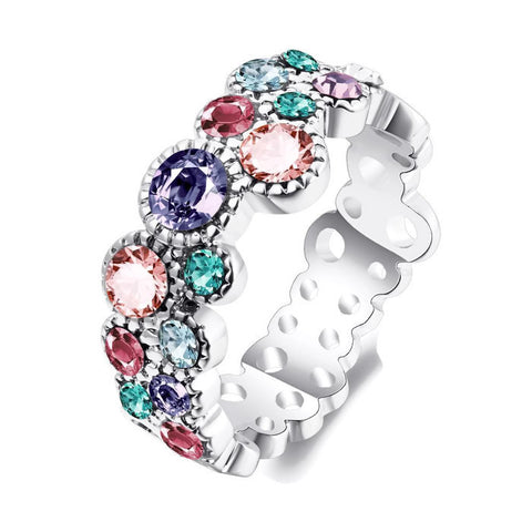 18k Gold Plated White Gold Finish Multi Color Eternity Round CZ Band Ring Sz 6-8